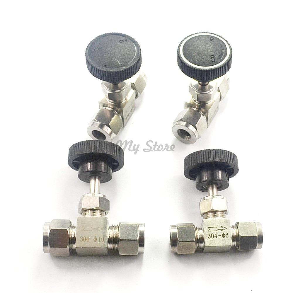Adjustable needle valve O.D 3 4 6 8 10 12 mm tube stainless steel 304 high pressure acid proof straight card set crane