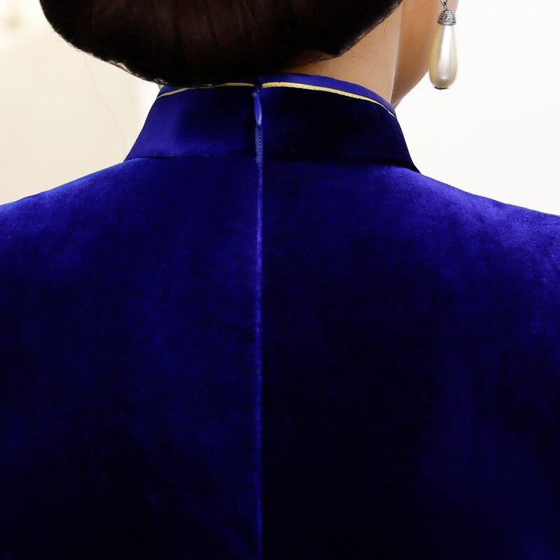 Partie Femmes Bouton Noir pourpre Vintage Qipao Longue Cheongsam Style Chinois Mince Mode Main Paillettes bleu bourgogne Robe Robes Velours YgbfvI6m7y