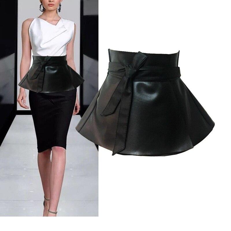 Ladies Peplum Black Dress Corset   Belt   Women'S Bowknot Tie Adjustable Pu Leather Ruffled Wide Waist   Belts   For woman