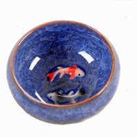 New Design 3D Ceramic double Fish China tea Cup,Kung Fu Tea Cup Set Crackle Glaze Travel Tea Bowl Chinese Porcelain Teacup Sets