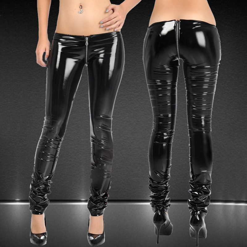 Sexy Shiny Zipper Open Crotch Pencil   Pants   PVC Faux Leather Low Waist Leggings Casual   Pants     Capris   Club Dance wear Plus Size F58