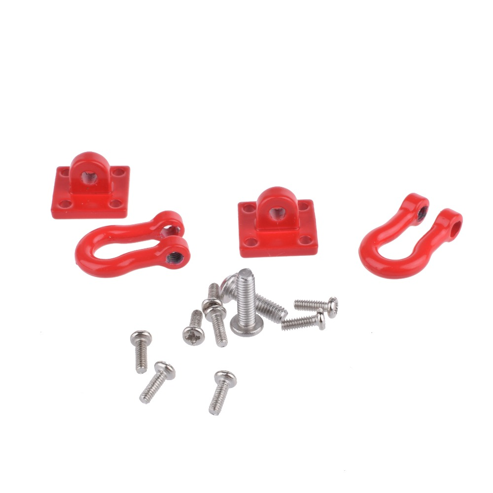 RC Rock Crawler 1:10 Accessory Tow Hook for Axial Wraith SCX10 90046 90047 RC4WD D90 D110 TF2 Tamiya CC01 Crawler Monster Truck 2 unit 1 10 scale shackles with bracket red for rc crawler truck accessory free shipping