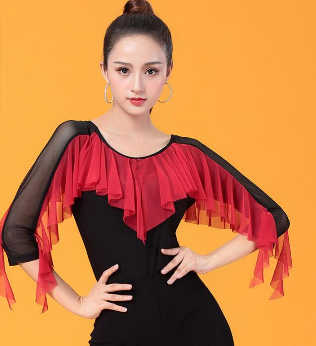 2019 New Sexy Dance Clothes Top Women Latin Salsa Rumba Chacha Dance Jacket Performance Practice Costume  YR0814