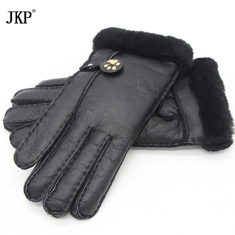 2017 guantes de cuero de invierno guantes de señora rusa guantes de abrigo piel de oveja forro de lana real una variedad de colores