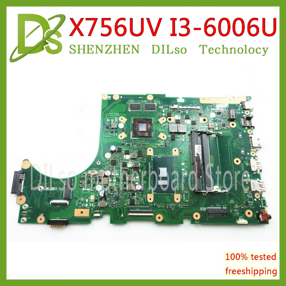 KEFU X756UV carte mère Pour ASUS X756UWK X756UQK X756UB Carte Mère I3-6006U REV3.1 2 gb Test de mémoire vidéo travail 100% d'origine