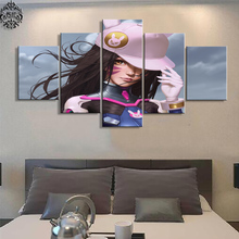 Canvas Painting Pictures 5 Pieces Overwatch D.VA Modern Printed Pictures Game Poster Wall Art Home Decor Painting On Canvas