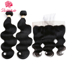 Beauhair Peruvian Body Wave 2 Bundles With Lace Frontal 13×4 Ear To Ear Free Part Human Hair Extensions Natural Color