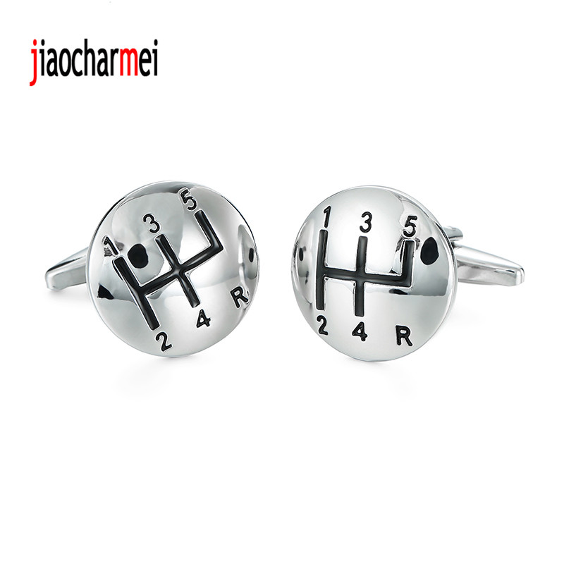 High quality gear Cufflinks personalized design new fashion silver car lever style cufflinks, French shirt accessories