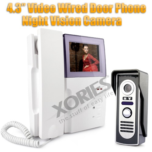 """HOMSECUR 4"""" Color TFT LCD Display Wired Video Door Phone, Doorbell System With IR Camera"""
