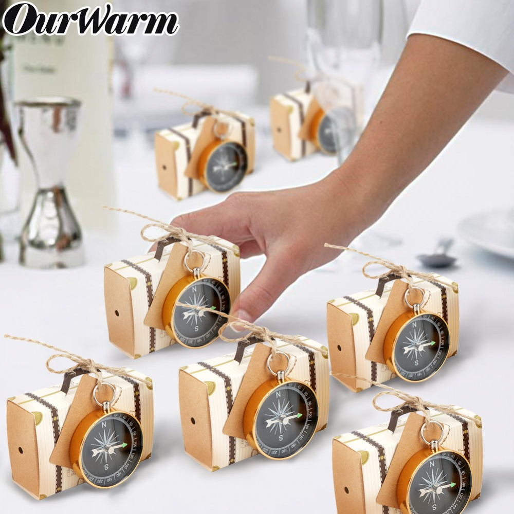 OurWarm 100 set Travel Themed Compass Candy Boxes Party Favors Wedding Baby Shower Party Favors for