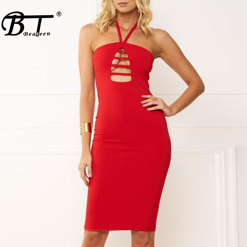 Beateen 2018 New Bodycon Dress In Solid Color Hollow Out Halter Bodycon Summer Women Party Dress Fashion