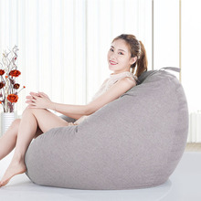 Linen Cloth Bean Bag Cover For Livingroom Balcony Tatami Single Window Chair Home Furniture Lazy Beanbags Cover Puff For Adult
