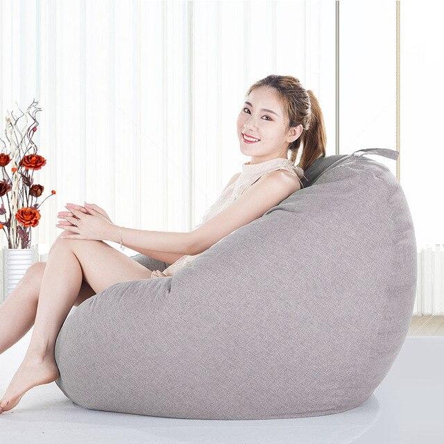 Pano de linho do Saco de Feijão Capa Para Janela Da Sala de estar Varanda Tatami Único Cadeira de Móveis Para Casa Preguiçoso Pufes Cobrem Sopro Para Adulto