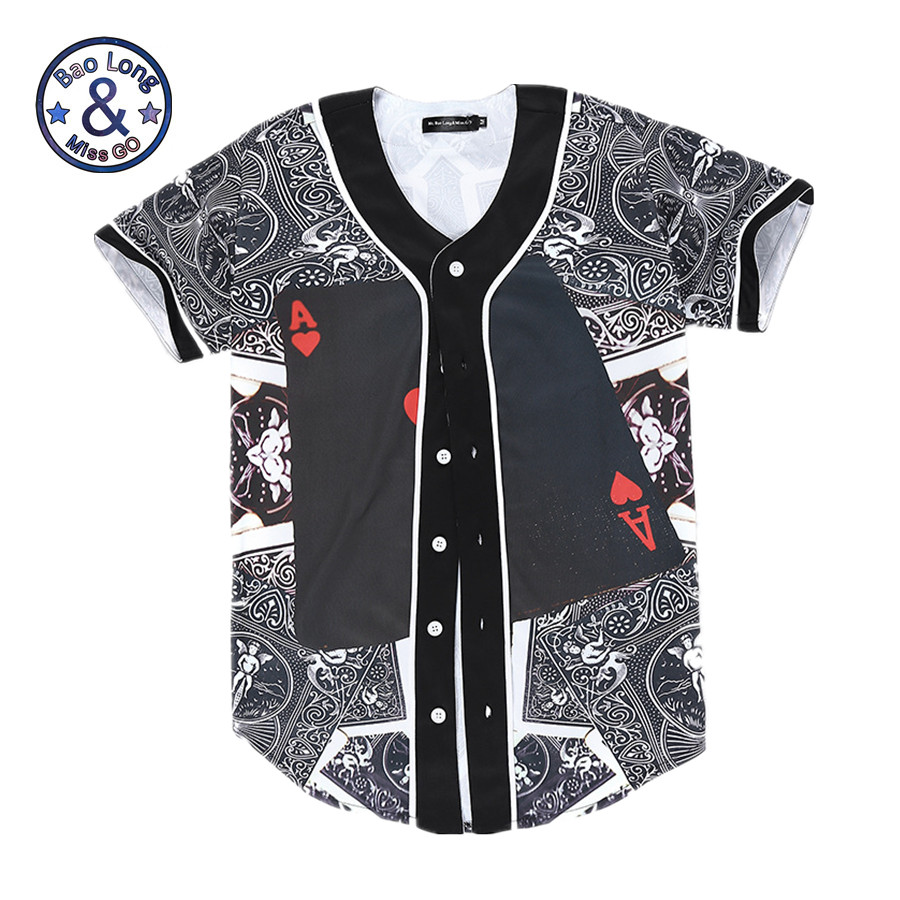 Mr.BaoLong Fashion Men Women Jersey 3D Print Poker Red Hearts A Baseball T-shirt Summer Hip Hop Button Tops Short Sleeve T Shirt