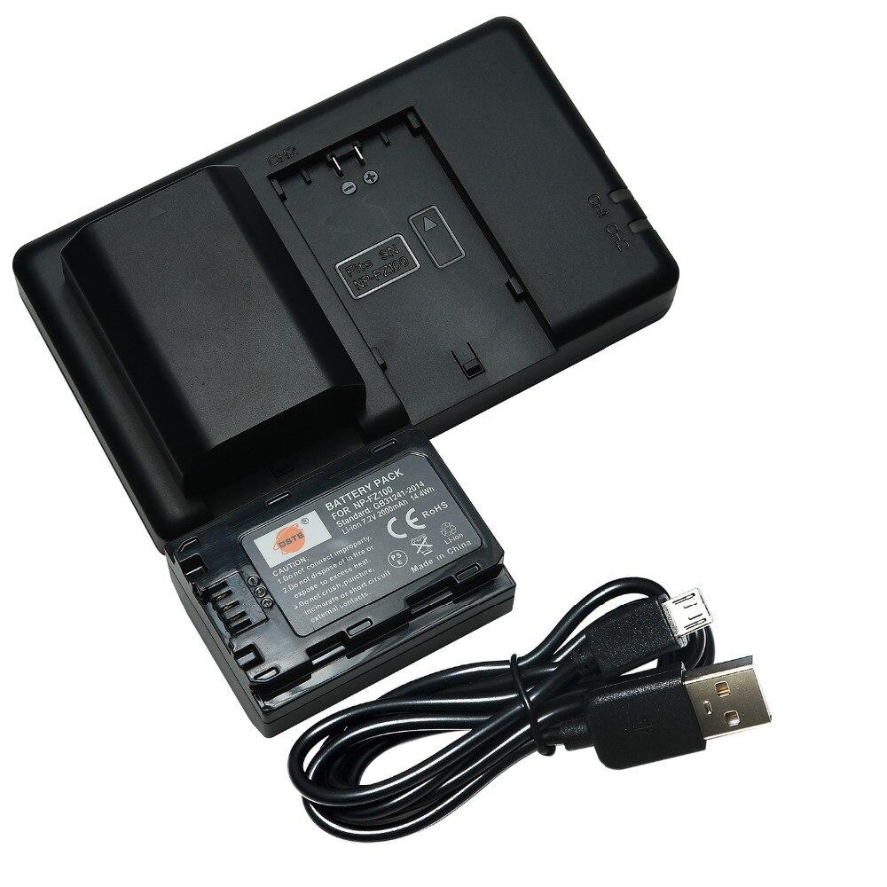DSTE Double Slot Chargeur avec 2 PCS NP-FZ100 Batterie pour Sony BC-QZ1 a9 a7R III a7 III ILCE-9 ILCE-7RM3 ILCE-7M3