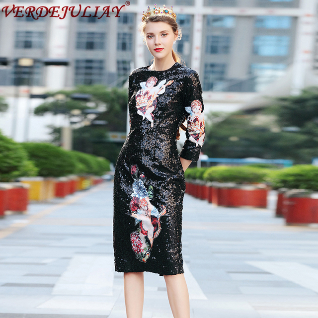 Vintage Women Fashion Dresses 2019 New O-Neck 3 4 Sleeve Angle Embroidery  Sequined Black European Style Slim Dress 201671477848