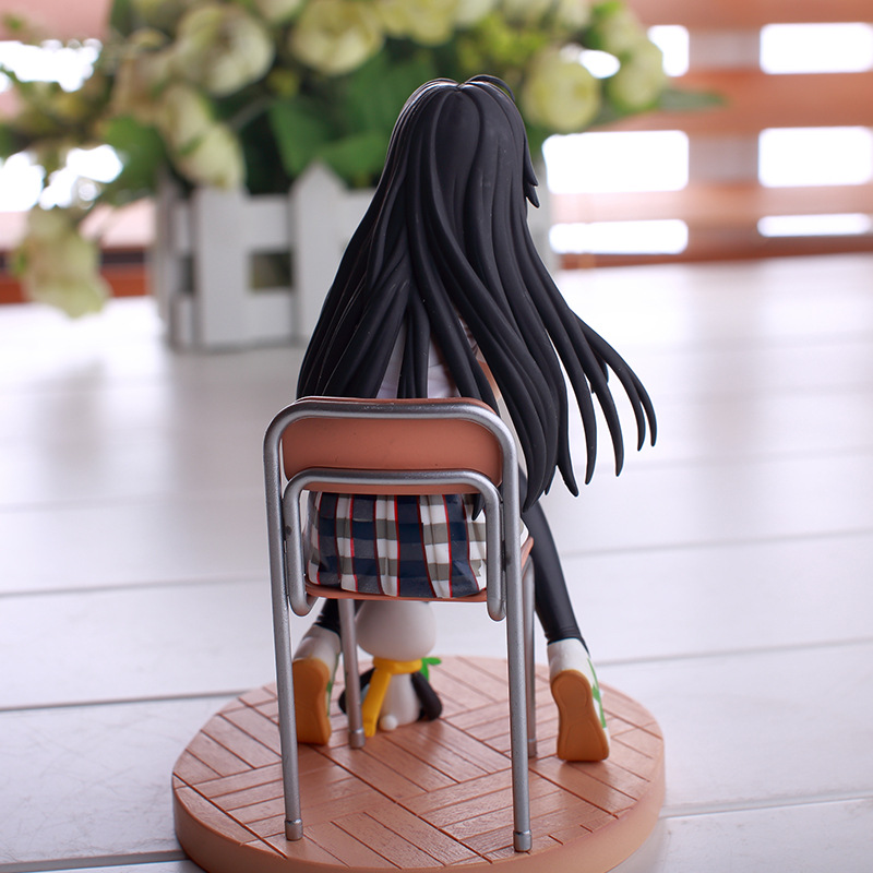 15cm Yukinoshita Yukino Anime Figure Gils Dolls Model with School Uniform Chair Base Comic Collection Model Kids Toy
