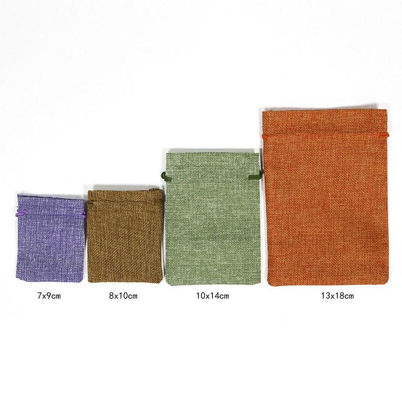 50 Cái/lốc Dây Rút Tự Nhiên Váy Lót Túi Đay Tặng Túi Đa Kích Thước Bộ Trang Sức Bao Bì Cưới Túi Kẹo Có Túi Đựng Có Thể Tùy Chỉnh logo 4