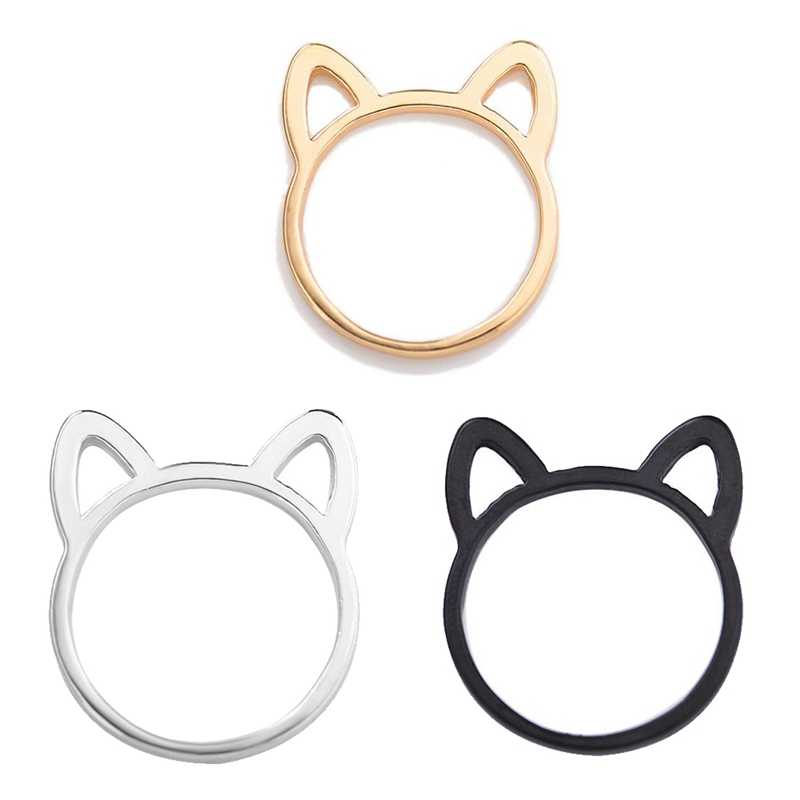 Cute Cat Ear Rings For Women Wholesale Female Finger Silver Gold Black Ring