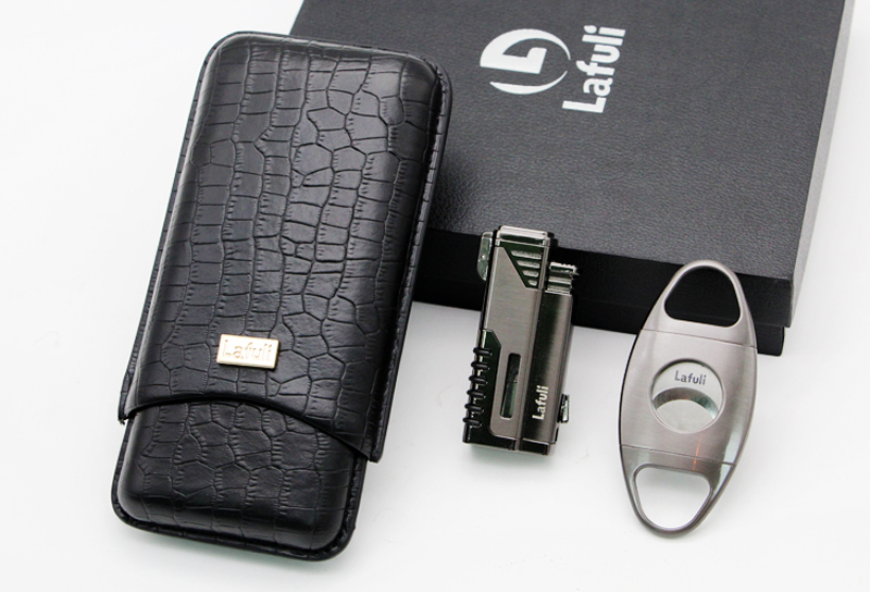 Stainless Steel Business Set Travel Cigar Humidor Case Box And 4 Torch Jet Flame Lighter W