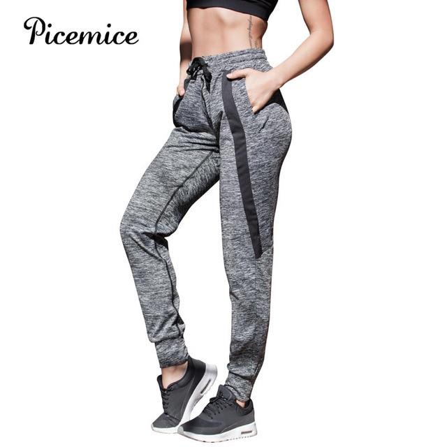 a1c79df3a6086 Picemice Yoga Pants Women Loose Leggings White Stripes Slim Splice Sports  Running Clothes Female Fitness Legging