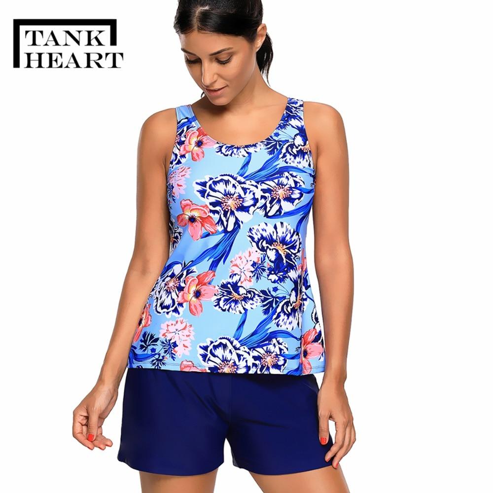 Floral Sport Tankini Set Biquini Plus Size Swimwear Women Two Piece Swimsuit With Short Large Size Swimsuits Two Sun Swim Suit