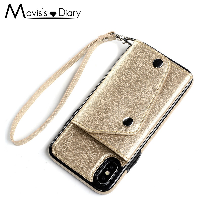 Flip Card Holder Leather Case For iPhone 8 Plus Retro Cover Bag Case For iPhone 8 7 6 6s Plus For Samsung Galaxy S8/S8 Plus