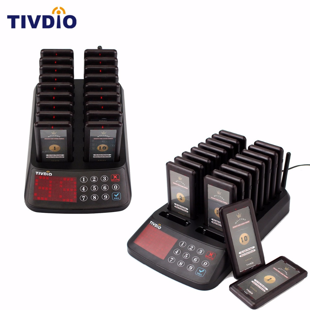 2 PCS TIVDIO Wireless Paging Queuing System Restaurant 99 Channel 18 Coaster Pager+1 Keypad Transmitter Guest Calling F9406A restaurant kitchen call system k 999 302 with 1 pcs keypad and 1 pcs display showing 2 digit number
