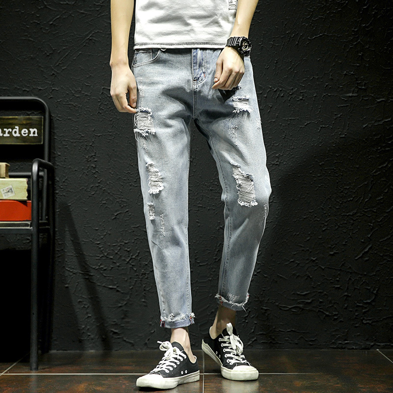 2018 Spring New Mens Fashion Casual Solid Color Holes Male Pants Tide Small Straight Leg Ankle-length Plus Size Jeans Trousers