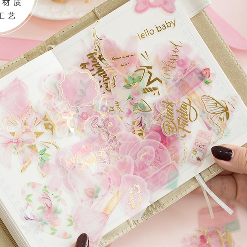 100 Pcs/Lot Yuxian Beautiful Pink Plant Paper Sticker Kawaii Decoration DIY Album Diary Scrapbooking Label Stickers Stationery