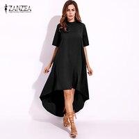 2017 Tops ZANZEA Summer Formal Party Solid Long Dress Short Sleeve Asymmetrical Women High Low Casual