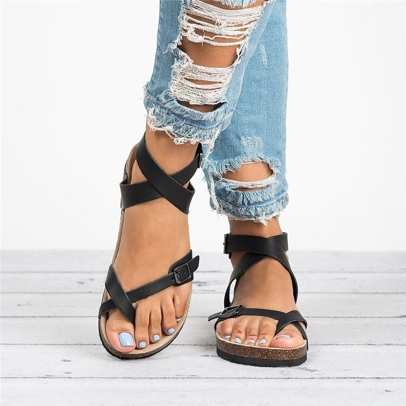 Gladiator Sandals Cork Lovers-Strap Brown Gold Flat Black Women Summer Ankle-Buckle Roman