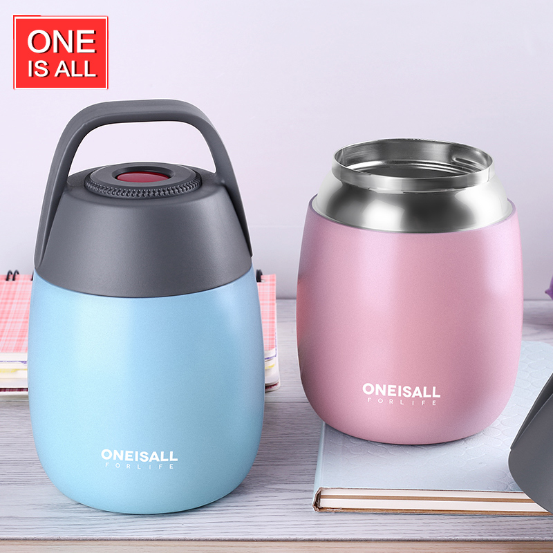 ONEISALL 450ML Food Thermos Container Thermos Bottle for Soup with Thermo Bag Vacuum flask Insulation Soup
