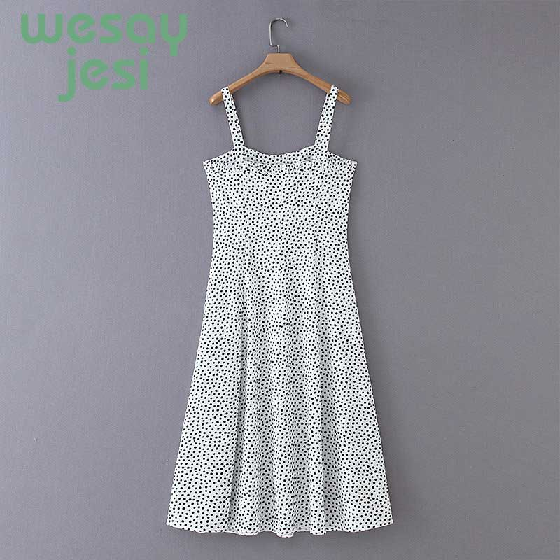 Women Dress Summer casual style dot Camisole square neck dress Loose mid calfBohemian Vintage Dress vestidos in Dresses from Women 39 s Clothing