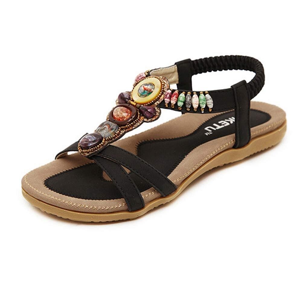 Summer Shoes Sandals Flats Beaded-Clip Rubber Bohemian Women Non-Slip Fashion New Toe