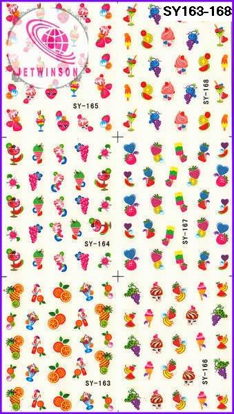 10 больших листов/Лот Фрукты и еда средний лист воды Наклейка для ногтей искусство ногтей татуировки наклейки