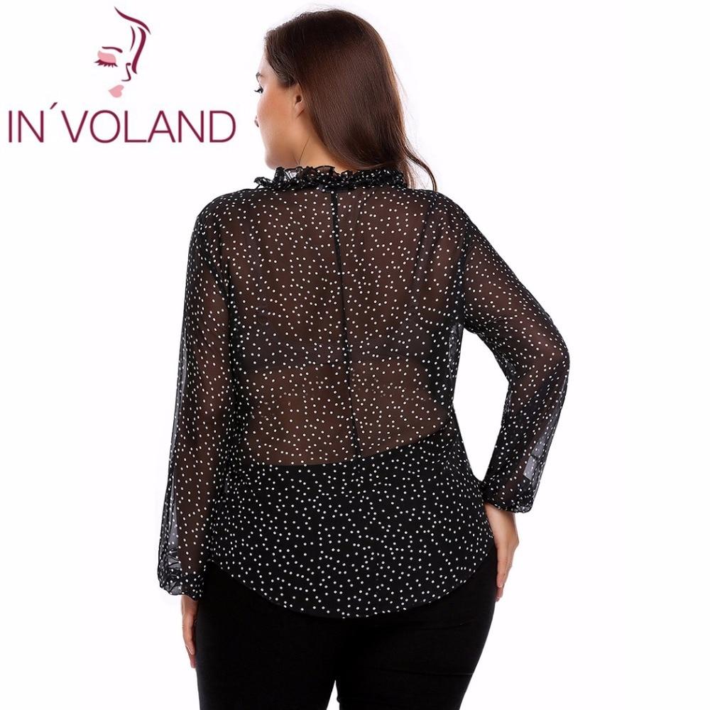 Plus Size Women's Chiffon Blouse Blusas Top V-Neck Long Sleeve Floral Tie Shirt