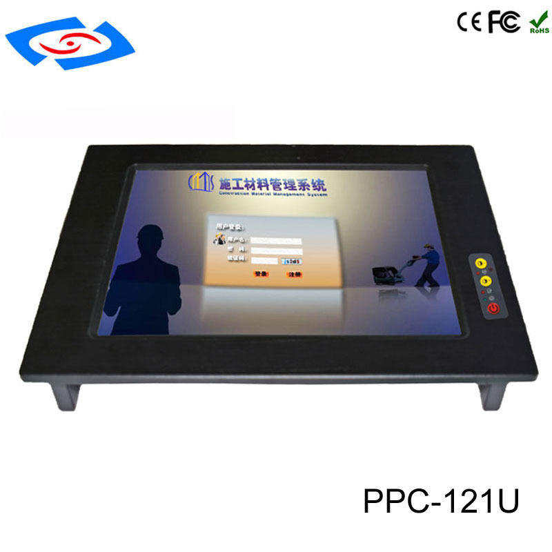 2018 New Version 12.1 Inch Embedded Touch Screen All In One PC Industrial Panel PC With Resolution 1024x768 For Digital Signage