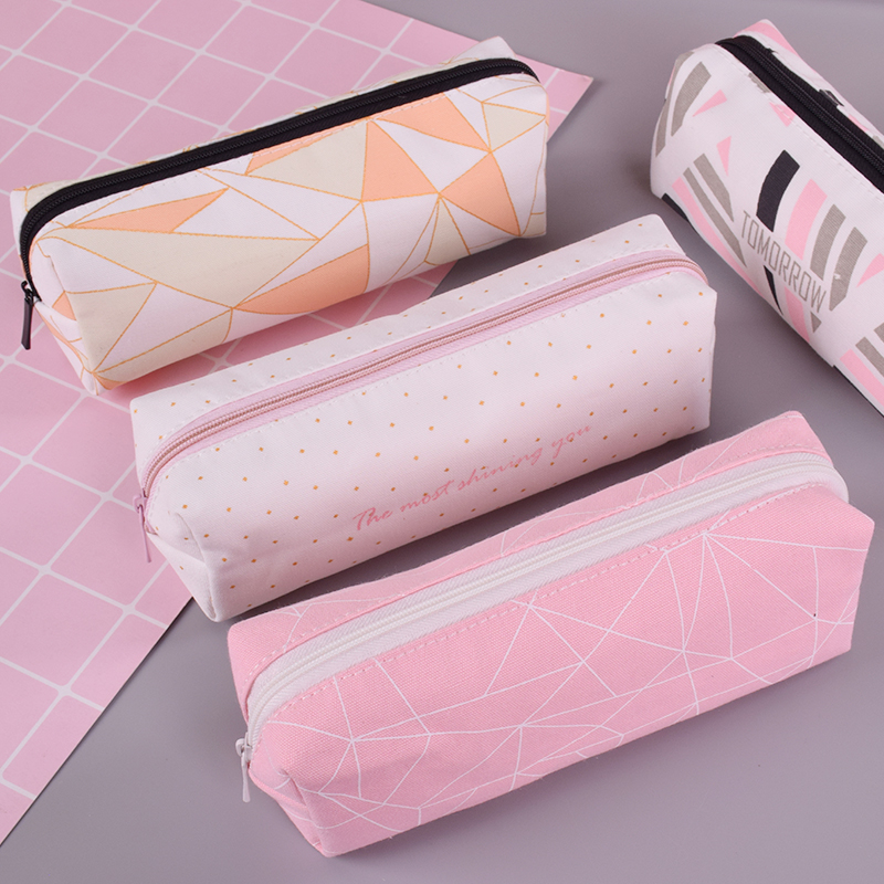 Canvas square student pencil case school pencil cases for girl stationery canvas pencil bag estojo escolar school supplies
