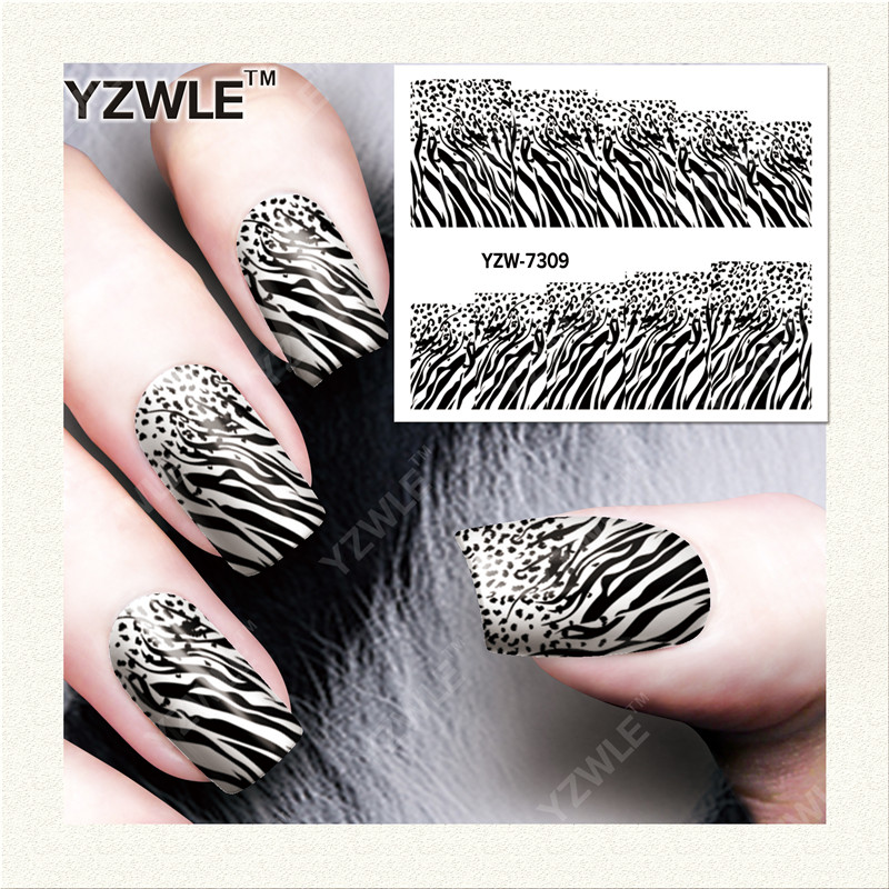 YZWLE 1 Sheet DIY Decals Nails Art Water Transfer Printing Stickers Accessories For Manicure Salon   YZW-7309 yzwle 1 sheet hot gold 3d nail art stickers diy nail decorations decals foils wraps manicure styling tools yzw 6015
