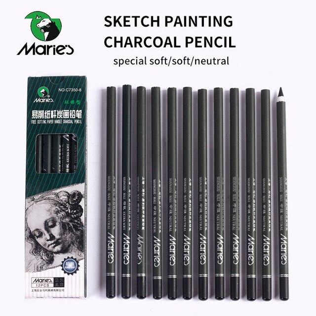 Marie 12 unids/set lápiz de carbón para pintura dibujo Lapiz de escritorio del estudiante escuela Art Supplies lápices para los estudiantes