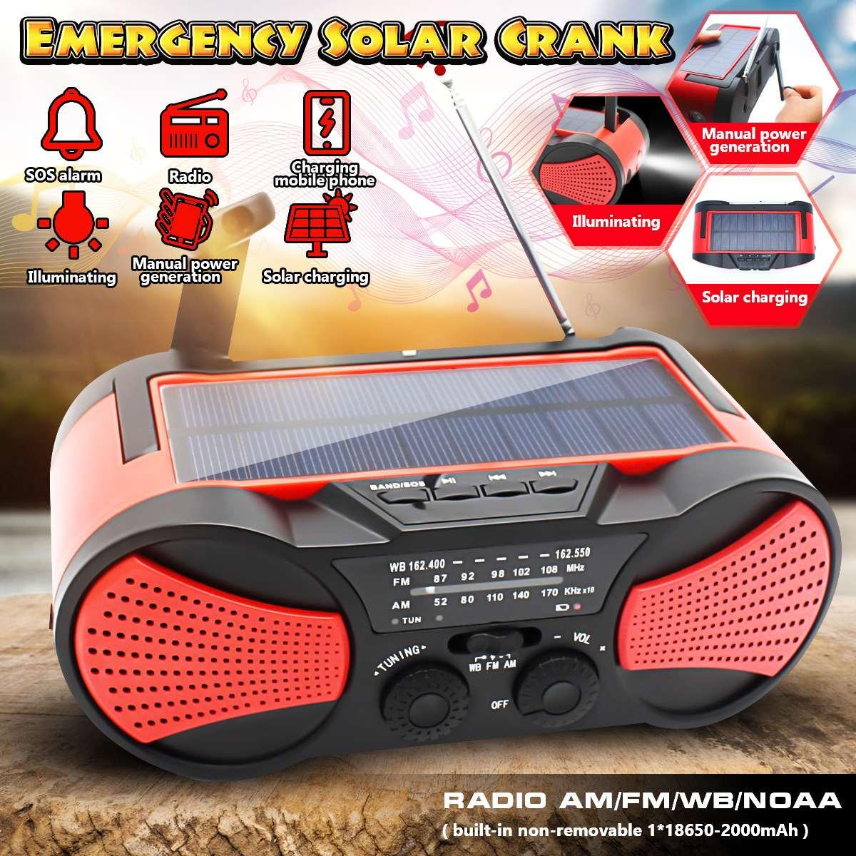 Puissance Ban énergie solaire WB manivelle d'urgence k manivelle auto-alimenté AM/FM météo Portable Radio 2000 mAh Rechargeable