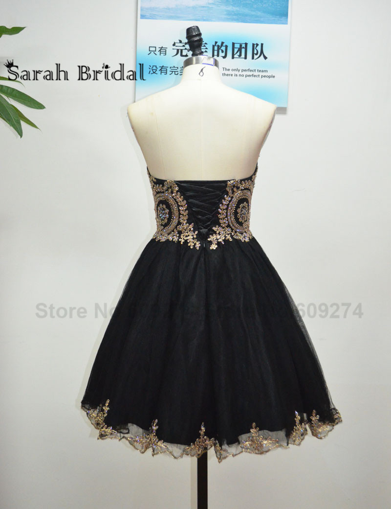 Short Black Prom Dresses Sleeveless Beaded Gold Lace A Line Tulle Mini Formal Graduation Gowns Crystal Real Picture LX028