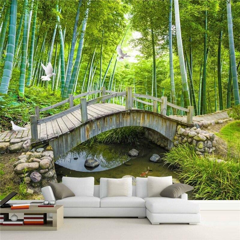 Beibehang Bridges Custom Photo Wallpaper 3D Bamboo Forest Landscape Painting Wall Decoration Living Room Bedroom 3d Wallpaper