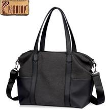 Pabojoe American Luxury Style Italian 100% Genuine Leather Mens Casual Bags Women Fashion Top-Handle Bags Handbags Shoulder Bags