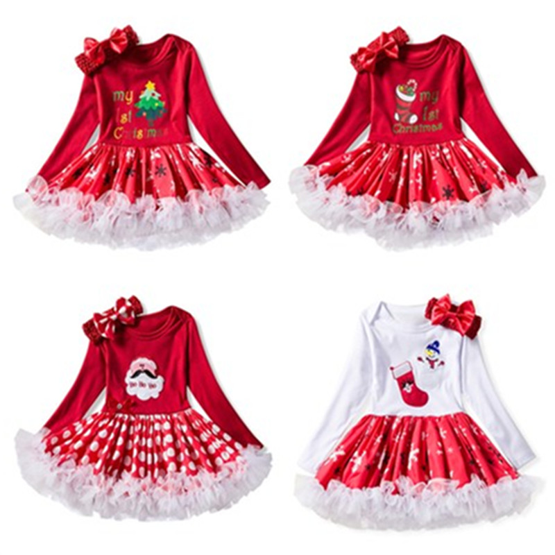 Baby Girls Christmas Outfits Newborn Infant My First Christmas Tutu Dress Up Baby Christmas Long Sleeve Dress+Hair Band Two Set wisefin baby christmas outfits long sleeve baby girl clothes set my first christmas girl cotton newborn bodysuit overalls skirts