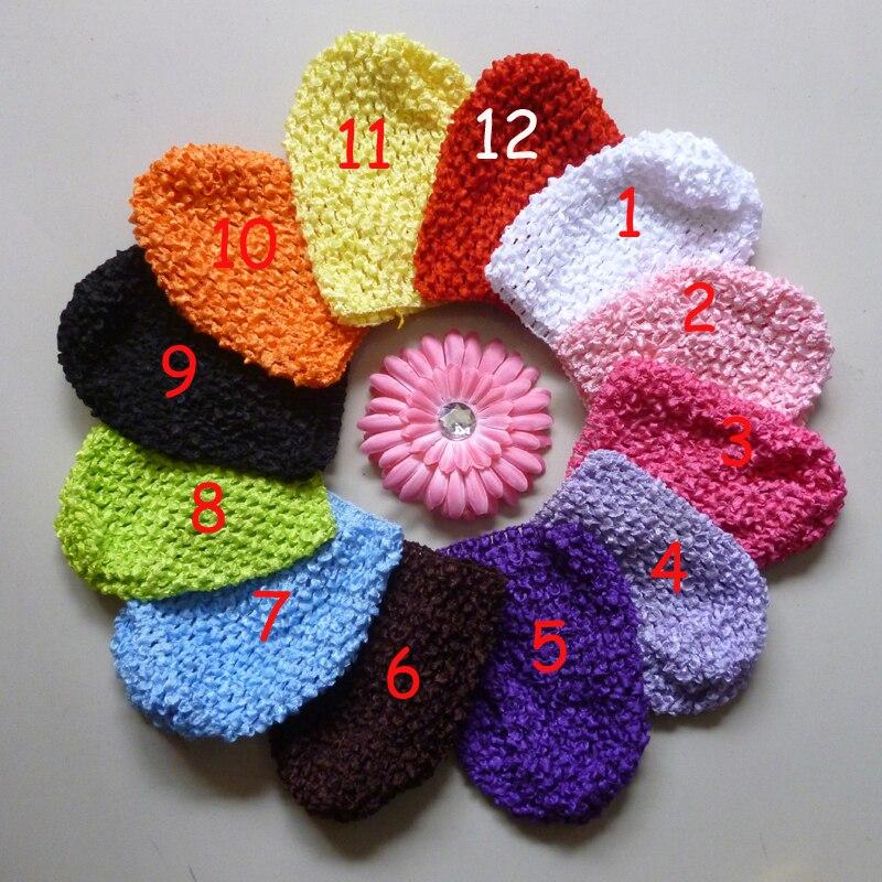 12 шт Детские вязанное крючком изделие шапки и вафельные шапочки и шапки много цветов на выбор