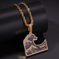Vintage Ocean Waves Pendant Necklace 2 Colors New Arrival Hip Hop Jewelry AAA Cubic Zirconia Fashion Mens Necklace