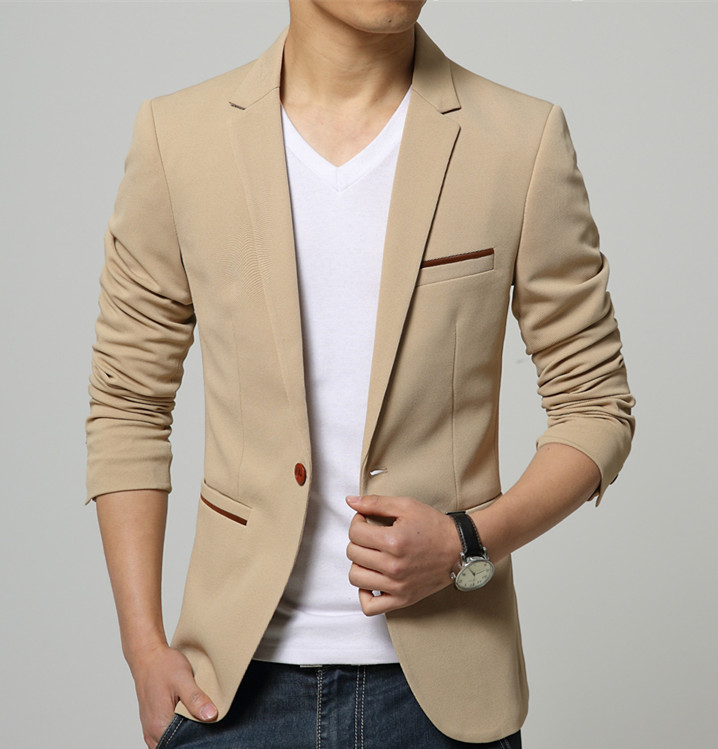 Mens Korean slim fit fashion blazer Suit Jacket black blue ...