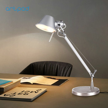 Aluminium Long Arm E27 Lamp Base Silver Colour Led Desk Table Lamp Folding Living Room Bedroom Bedside Home Work Lighting